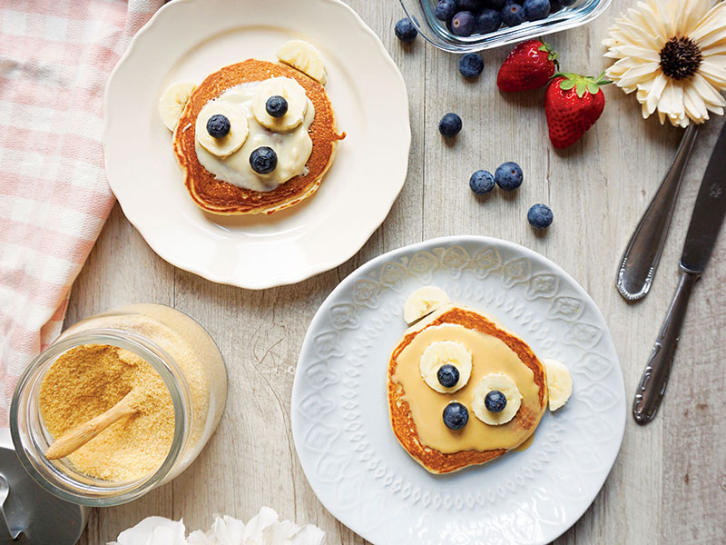Pancake-Orso alla banana senza uova e senza lattosio