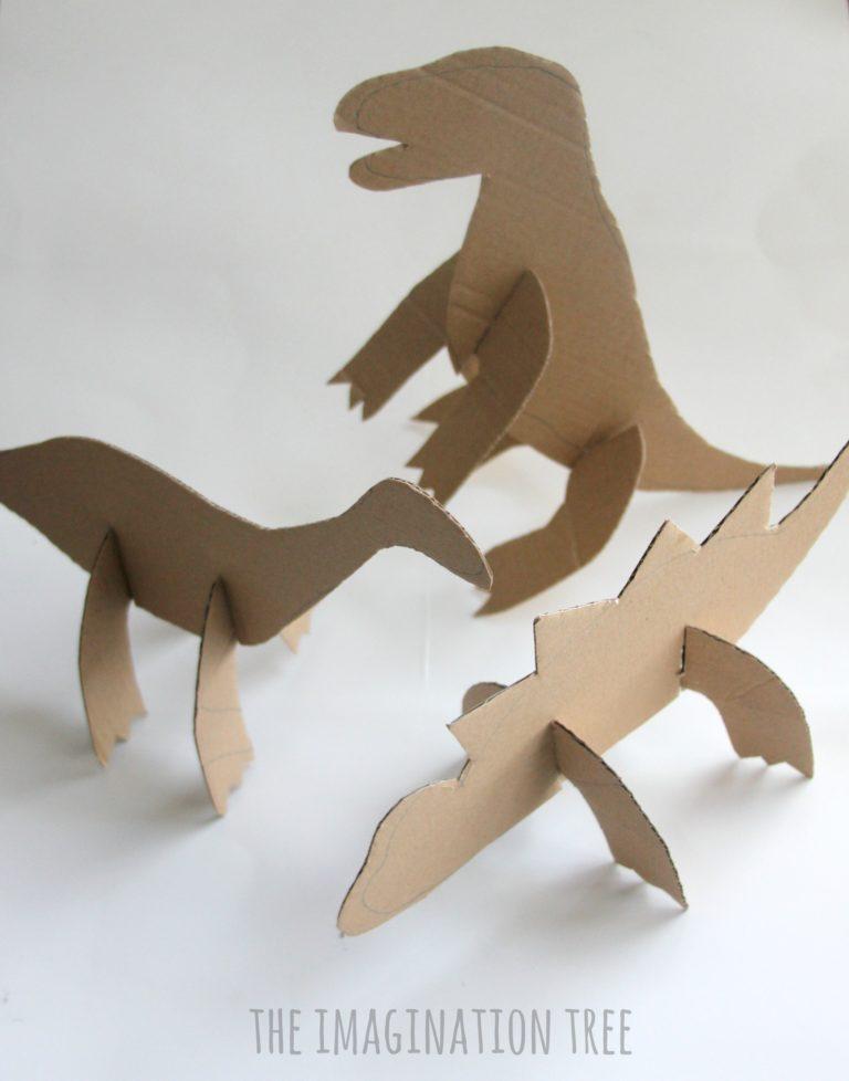 costruire dinosauro cartone lavoretto