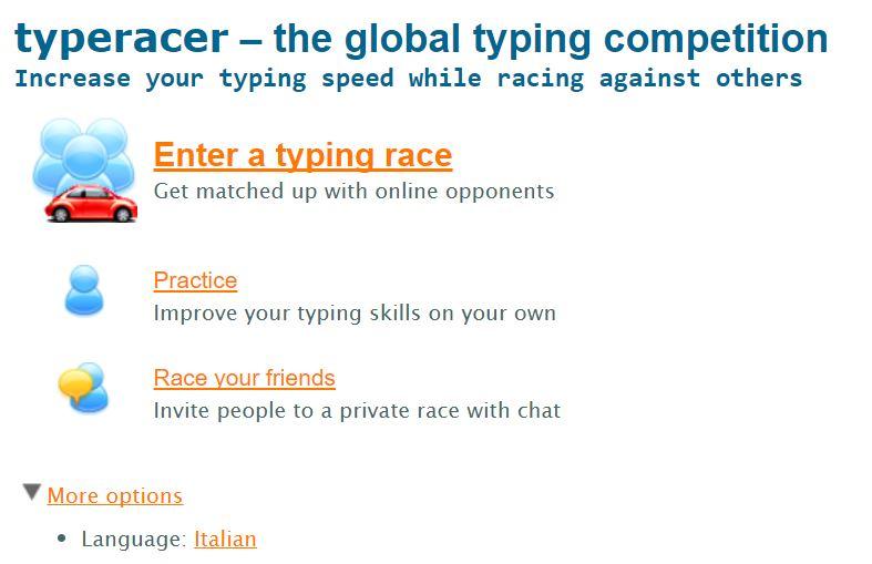 Imparare a usare la tastiera - Typeracer